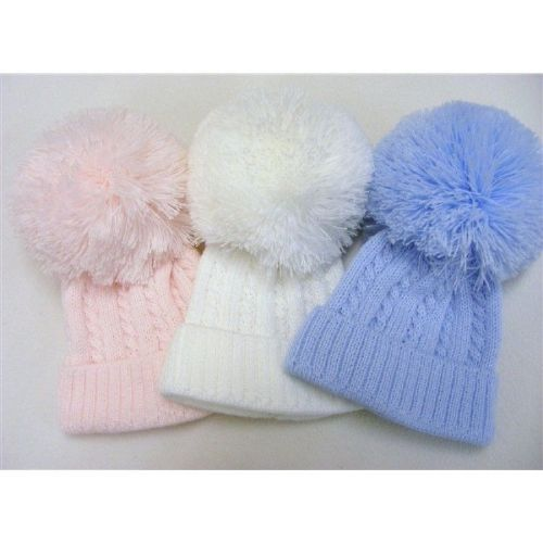 Lovely First Size Baby Knitted Pom Hat Cable Knit